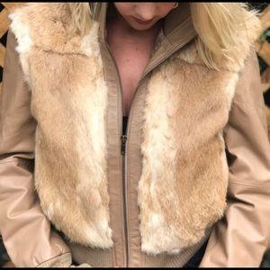 Amazing Vintage 100% Rabbit & leather Jacket